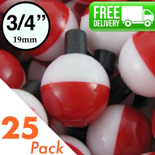 """3//4/"""" .75 inch 19mm ROUND Fishing Bobber Float 10-250 Bulk Pack Red /& White"""