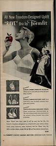 1958 Formfit Uplift Rave Bra Women In Bra Holding Apple Vintage Print Ad 2840
