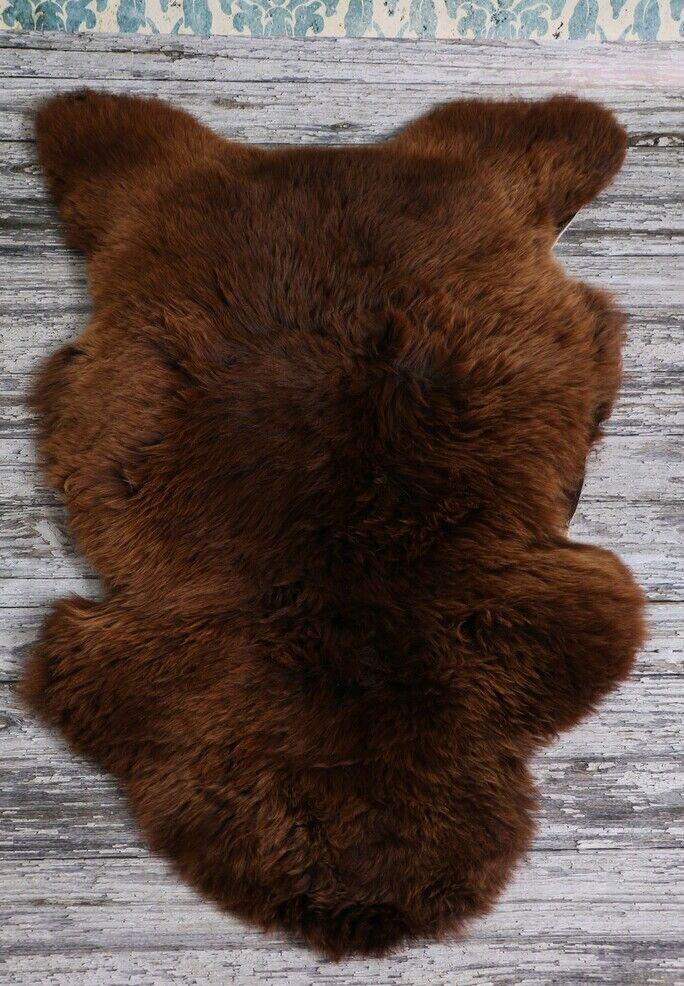 Natural Coloree Cioccolato Pelle DI PECORA TAPPETO, Morbida Lana, pelli di doppio 2, 200x65cm