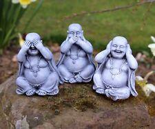 3 WISE HAPPY GARDEN BUDDHA ORNAMENTS DECOR,HEAR NO, SEE NO, SPEAK NO EVIL 3