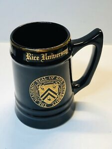 Vintage-Rice-University-Academic-Seal-Black-amp-Gold-Beer-Stein-Mug
