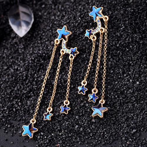 Boucles d`Oreilles Clous Doré Pompon Tassel Etoile Bleu Fin Long XX20