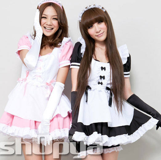 NEW Sexy PINK Fancy Ruffle Lolita Maid Cafe Outfit Japan Cosplay Halloween Dress