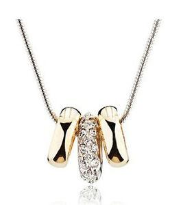Elegante-Due-Oro-amp-Una-Diamante-Argento-Satinato-Collana-Con-Ciondolo-Pendente