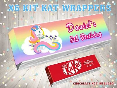 6 Personalised Unicorn Birthday Party design 4 Kit Kat Wrappers