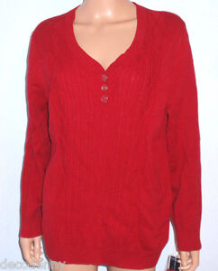 Womens Red cable knit sweater Karen Scott Size 0X Pullover Long ...