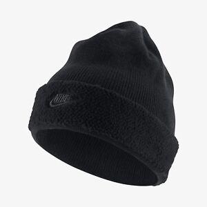 2e0bd037cf653 New Nike Sportswear NSW Sherpa Beanie Winter Hat - Black Black ...