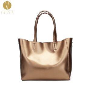 c1d688b7b9 Image is loading Women-039-s-Genuine-Leather-Silver-Gold-Metallic-