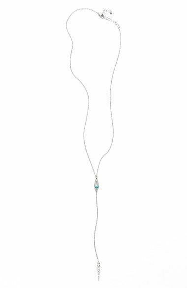Nordstrom BP Y-NECKLACE Natural Stone Lariat Howlite Turquoise, New $16