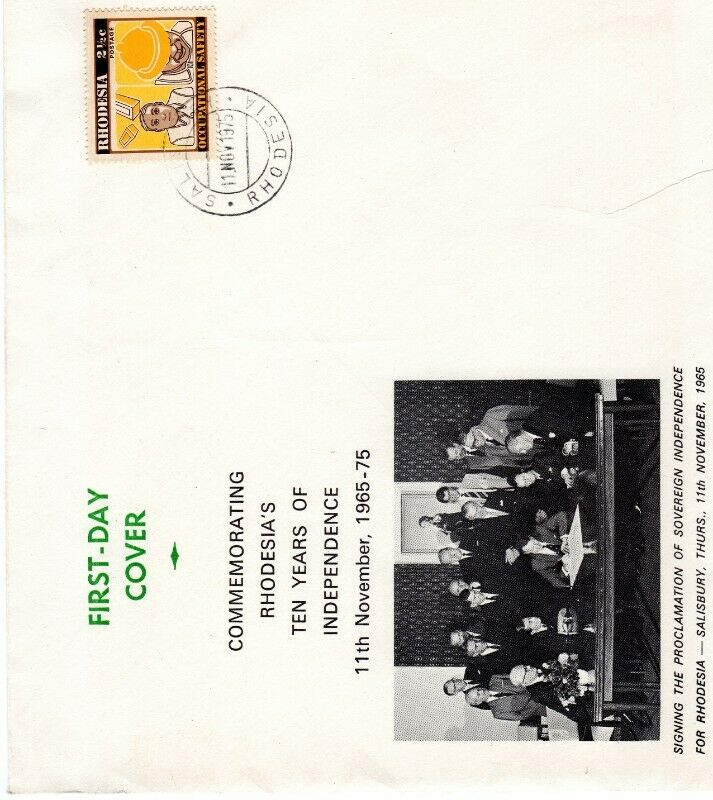 Commemorative Stamp Envelope Set First Day Cover 1975 Commemorating Rhodesia's Ten Years of