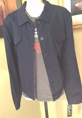 Navy Blue John Paul Richard Uniform Petites Size 14 RETRO Jacket New With Tags