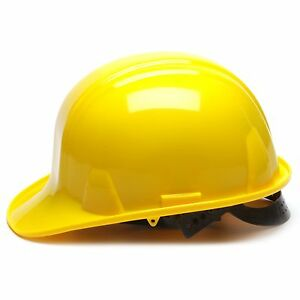 Pyramex Hard Hat Cap Style Yellow with 4 Point Snap Lock Suspension
