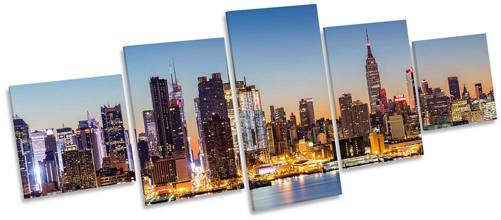 New York Manhattan Skyline Photo Toile Wall Art Cinq Panneau