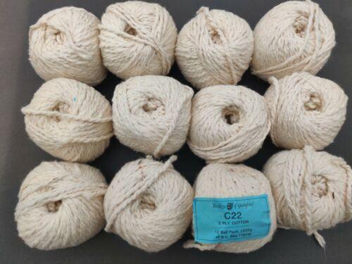 12x100g palline Vintage TWILLEYS C22-2 Strati Spessa Lana Filati Di Cotone vedi foto 2
