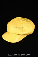 Yellow GATSBY HAT Real Lambskin 100% Leather Cabbie Newsboy Bakerboy Golf Cap