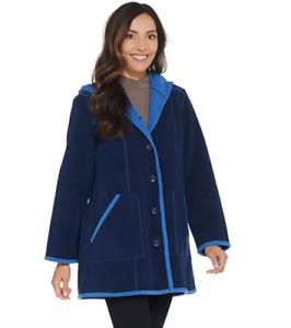 Susan Graver Weekend Bonded Polar Fleece Coat Sapphire//Blue XLarge