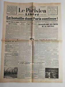 N187-La-Une-Du-Journal-Le-Parisien-Libere-23-aout-1944-bataille-Paris-continue