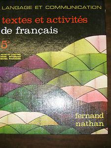 Details Sur Textes Et Activites De Francais 5e Labeyrie Nathan 1975 Manuel Scolaire
