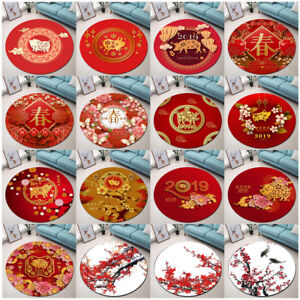 Home-Decor-Livingroom-Round-Area-Rugs-Chinese-New-Year-Theme-Mat-Bedroom-Carpets