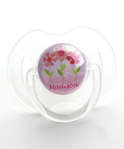 e543af12f Image is loading Personalized-Name-Pink-Flower-Baby-Pacifier