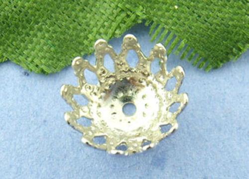 HS 300 Silberfarbe Blumen Perlen Beads Ende Kappen D.9mm