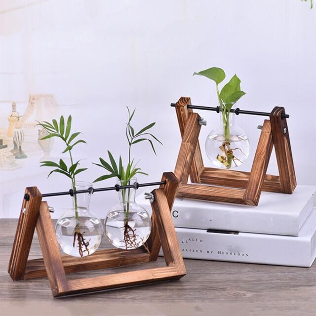 Terrarium Hydroponic Plant Glass Vase Flower Pot Wooden Frame Bonsai Home Decor