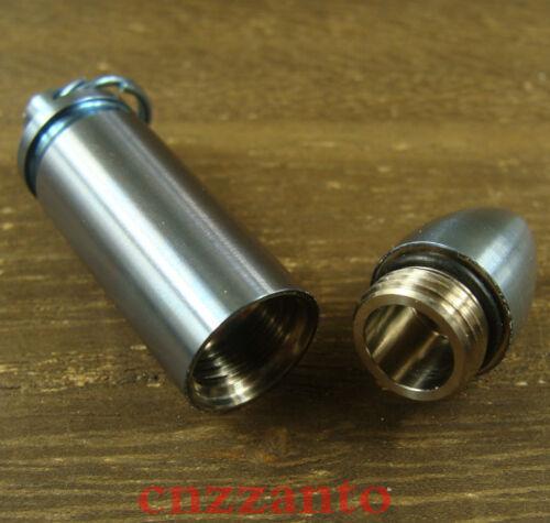 Titanium Blue bullet shaped Waterproof Capsule Seal pill Bottle pendant Ti089B