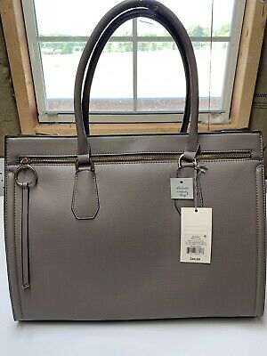 Isaac Mizrahi Live Pebble Leather Shopper Purse with Scarf Chocolate Brown NWT