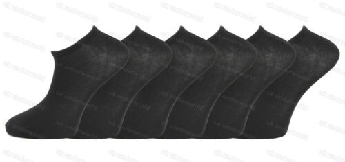 6 Or 12 Pairs Mens Black Or White Trainer Socks Anti Bacterial Shoe Liners 6-11