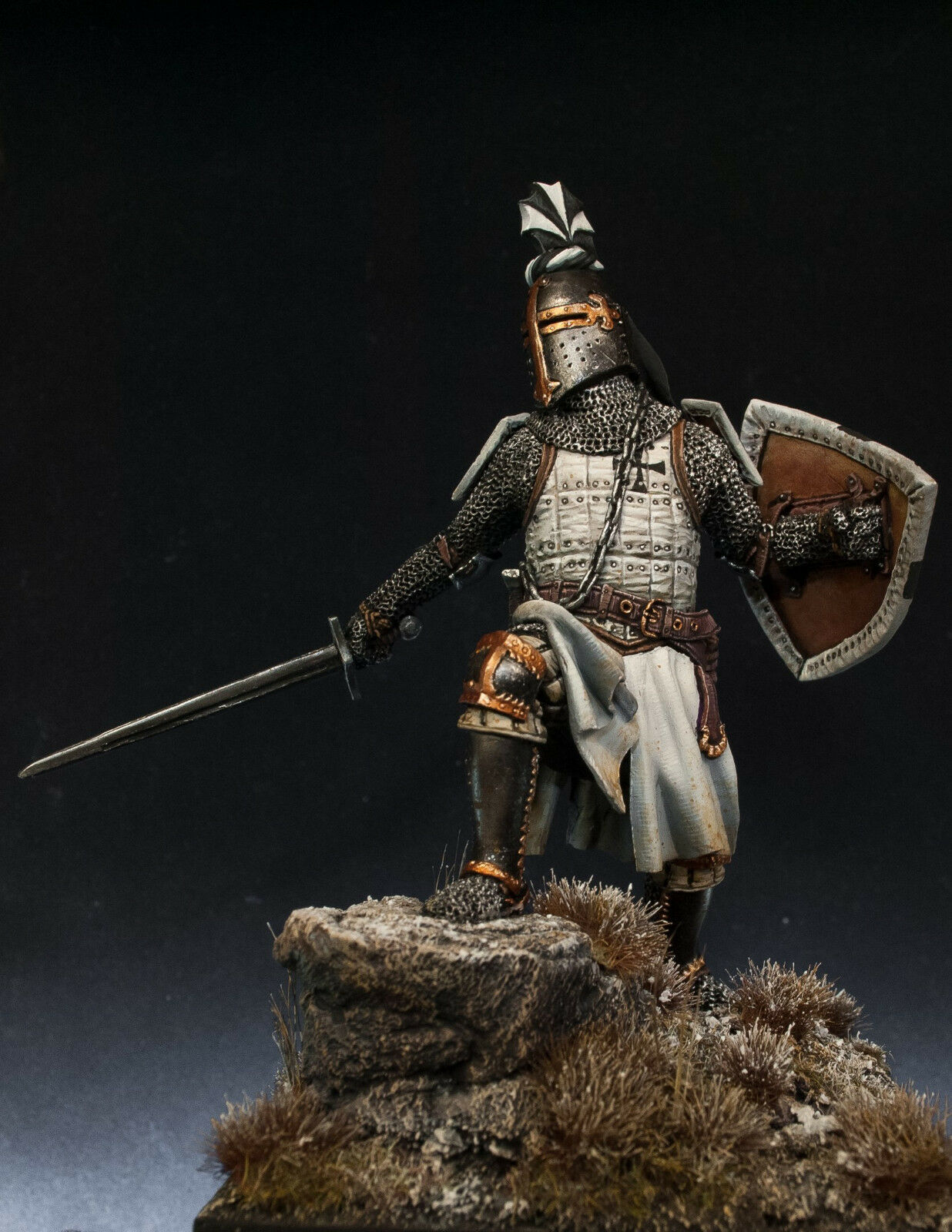 Resin Soldier, Museum, Teutonic Knight, Crusader, Warrior, Catholic Order, 75mm