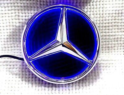 Mercedes-Benz LED Badge Emblem Logo Class A B C E ML GL CLK GLK CLS 185mm Blue