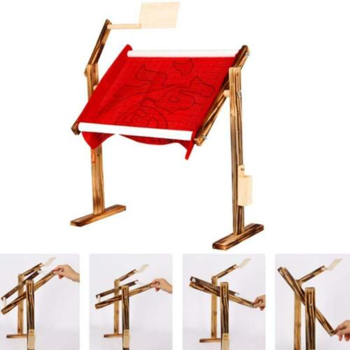 Needlework Stand Lap Table Wood Embroidery Hoop Frame Cross Stitch Sewing Device