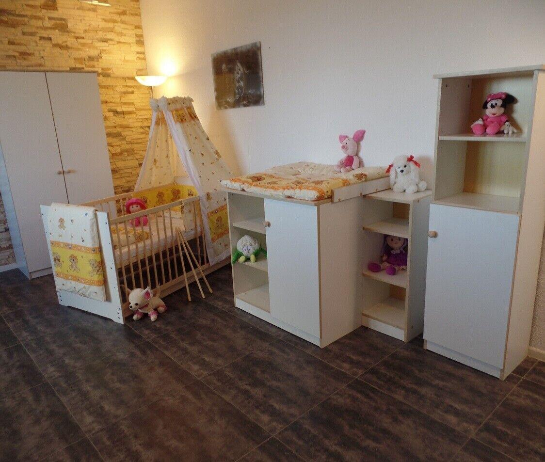 Babyzimmer Complet Set Blanc Gitterbett Baby Armoire Commode étagères 5 couleurs NEUF