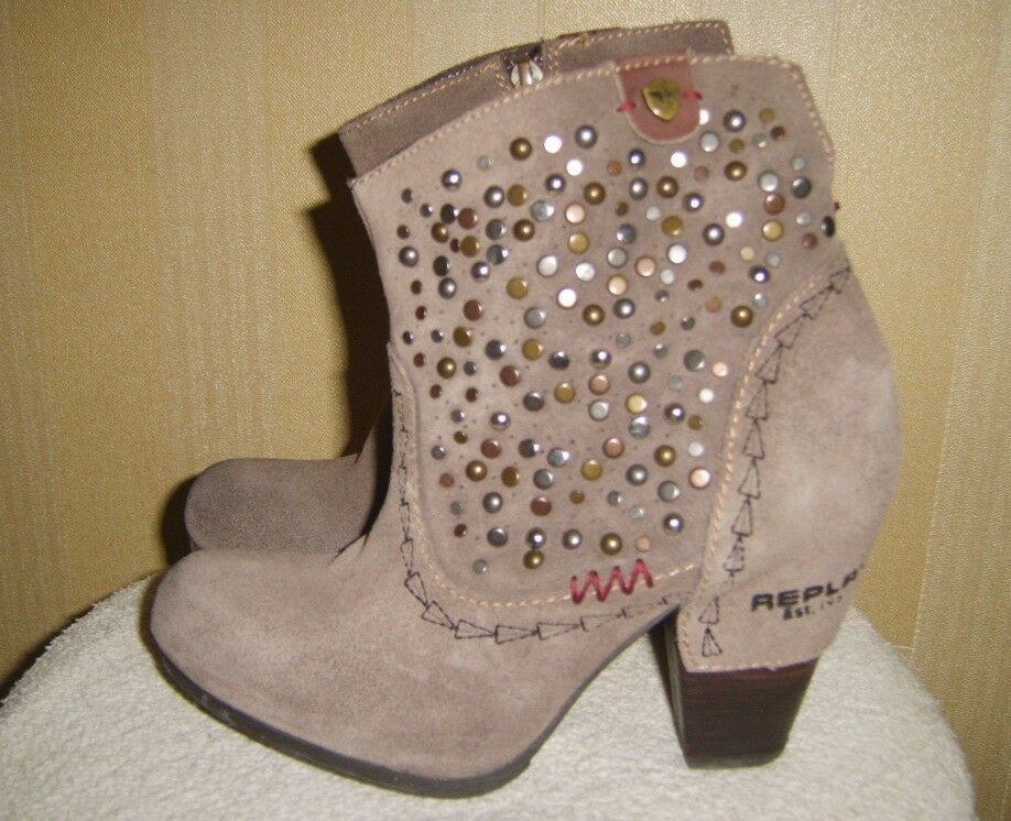 Ladies Replay Taupe Grey Suede Studded Ankle Boots
