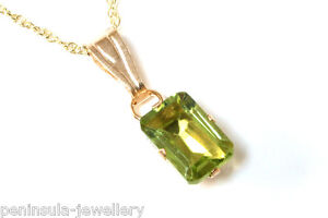 9ct-Gold-Small-Peridot-Pendant-and-18-034-chain-Made-in-UK-Gift-Boxed-Necklace