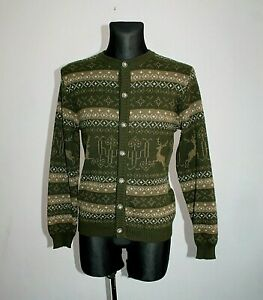 Vtg-ST-Peter-Womens-Jumper-Wool-Cardigan-Jacket-Fairisle-Nordic-Austria-Size-M