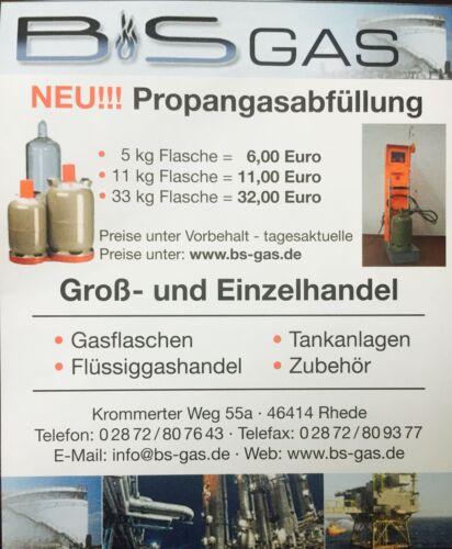 Gasflaschen,BBQ Campinggas 11kg Flüssiggas Propangasabfüllung