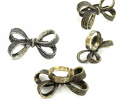 Adjustable vintage retro style bow ring multiple choices