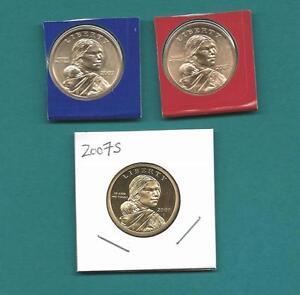 2009 P D and S BU Satin and Proof Sacagawea Dollars-3 Coins