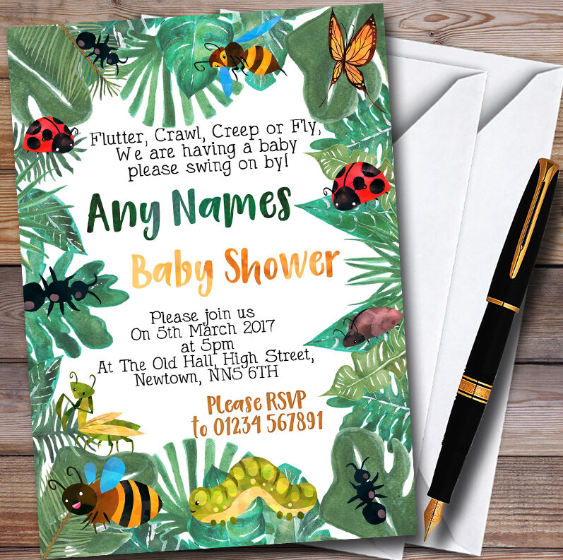 Leaves Bugs And Insects Personalised Baby Shower Invitations