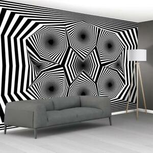 Image Is Loading Illusion Black Amp White Pattern Wallpaper Woven Self