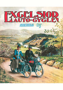 1916 Excelsior American X Series 17 motorcycles poster - <span itemprop=availableAtOrFrom>Leiston, United Kingdom</span> - 100% satisfaction guaranteed: If the buyer wishes, an item may be returned for full refund, including the original postage & packing fee Return postage fees: The return postage will also  - Leiston, United Kingdom