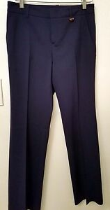 Authenric Gucci Para Mujer Vestido De Pantalones Italia Azul Marino Con Palanca De Bambu Talla 40 Ebay