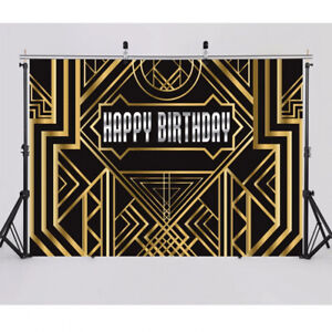 Details About Great Gatsby Party Decorations Black Gold Birthday Party Photo Booth Backdrop