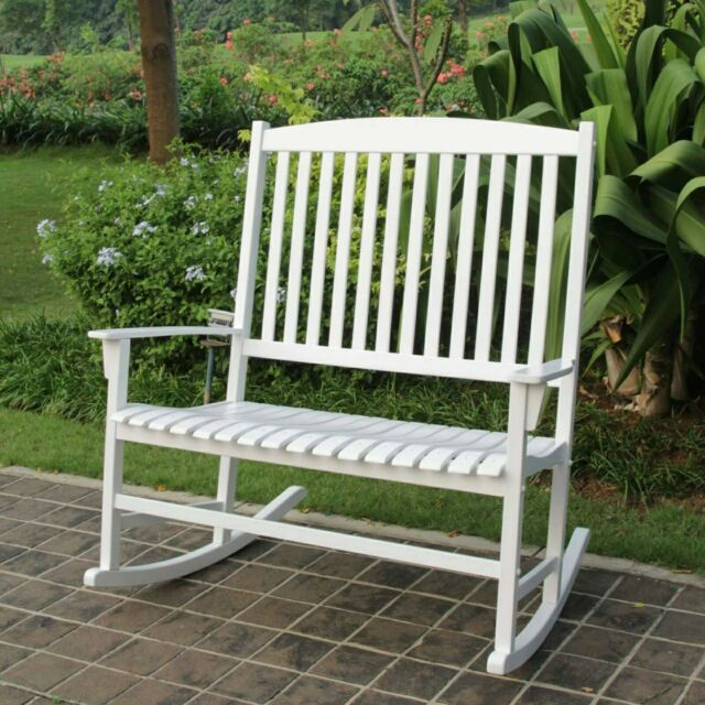 Superb Outdoor 2 Person Double Rocking Chair Furniture Patio Porch Garden Solid Bralicious Painted Fabric Chair Ideas Braliciousco