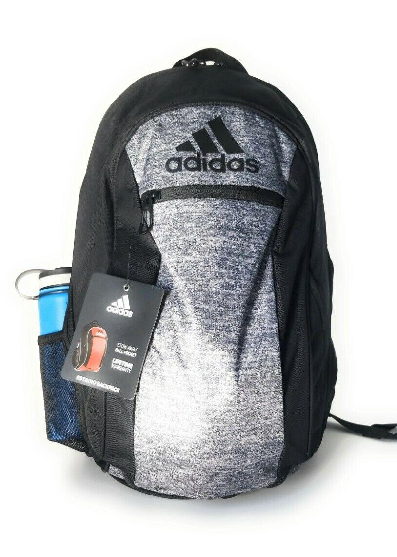 Adidas Unisex Estadio IV Backpack Black/Grey Soccer/ Basketball Ball Bag, 008