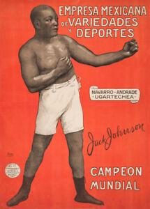 1910 250gsm Spanish Boxing Vintage Sports Poster JACK JOHNSON WORLD CHAMPION