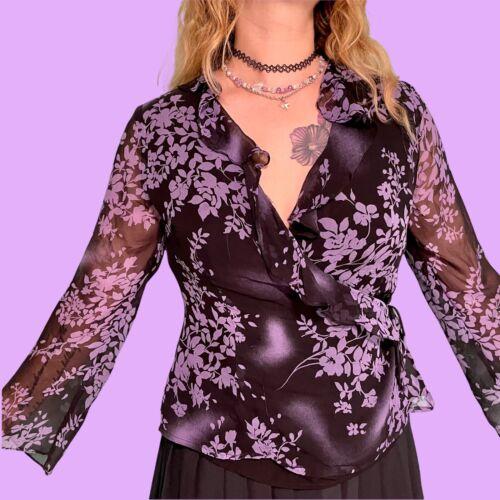 vintage y2k silk ruffle sheer wrap floral fairyco… - image 1