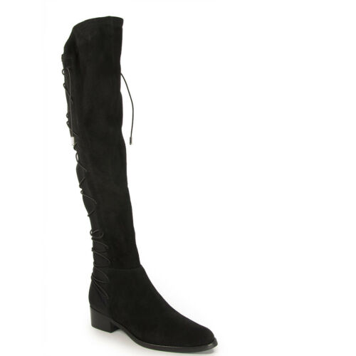 Schutz talia black tall round toe suede over the knee strech fitted riding boots