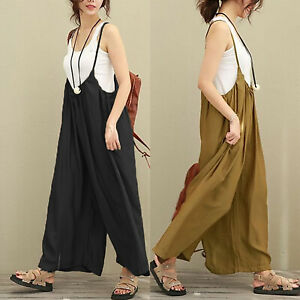 Women-039-s-Loose-Overalls-Jumpsuit-Bib-Dungarees-Wide-Leg-Pants-Romper-Playsuit